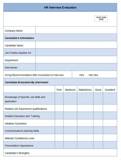 17 hr evaluation forms hr templates free premium