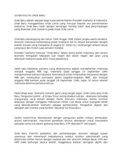 Sistom Politik 1965 Original sistem politik orde baru