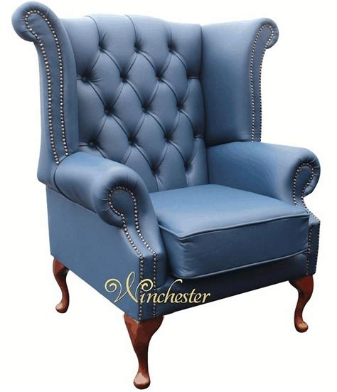 blue wing chair recliner chesterfield high back wing chair uk