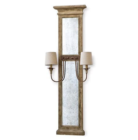 Mirrors With Sconces vivant country wood antique mirror with sconces