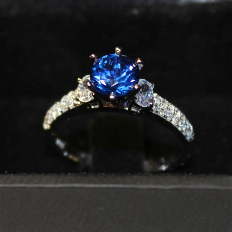 solitaire sapphire promise ring blue cubic zirconia