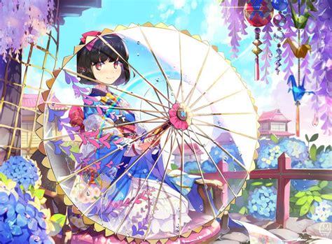 cute pattern pixiv anime girls flowers umbrella traditional clothing