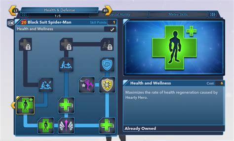 black suit spiderman updated skill tree abilities