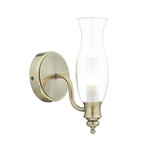 Traditional Antique Brass Bathroom Wall Light W Glass Vintage Bathroom Wall Lights