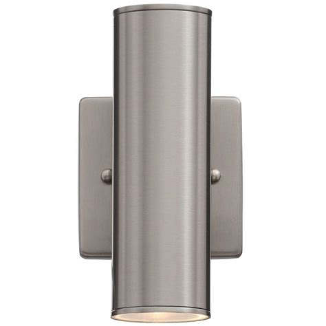 home depot exterior light fixtures hton bay riga 2 light stainless steel outdoor wall mount cylinder light fixture 200025a the