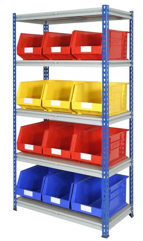 large storage bins on shelves