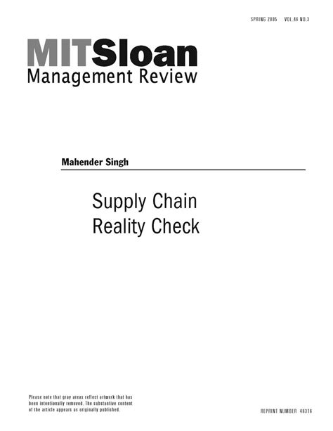 Mit Sloan Supply Chain Mba by Supply Chain Reality Check Mit Smr Store