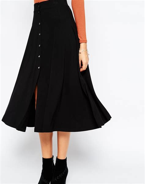 asos button through midi skirt in black lyst