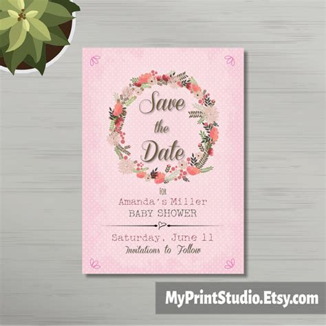save the date templates for baby shower save the date baby girl shower card template save the date