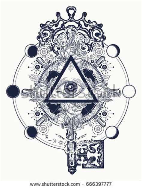 masonic eye key tattoo symbols freemason stock vector