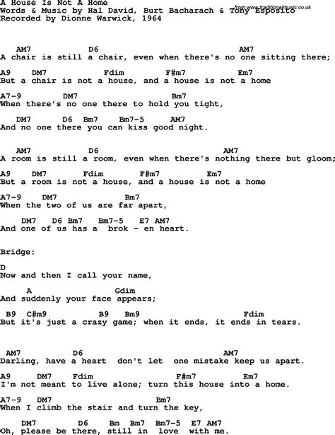 Song Lyrics With Guitar Chords For A House Is Not A Home Dionne Warwick 1964