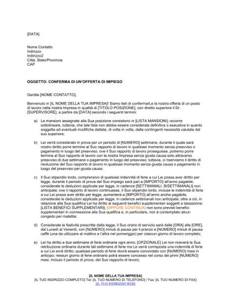 lettere di contestazione lavoro conferma di un offerta di impiego modelli e esempi di
