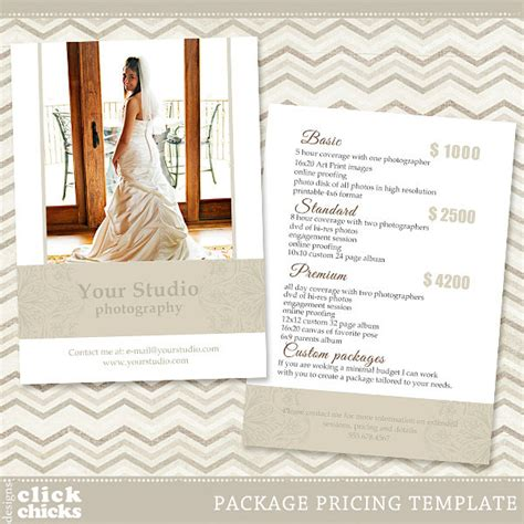 wedding photography pricing template photography package pricing list template price list price