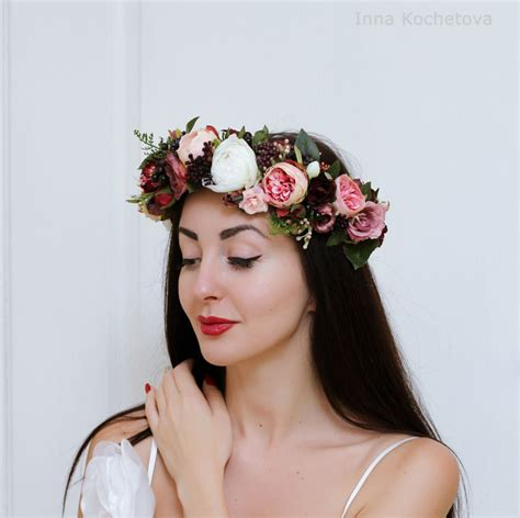 Wedding Hair Wreath Of Flowers by Peony Flower Crown Wedding Hair Wreath Bridal Headpiece