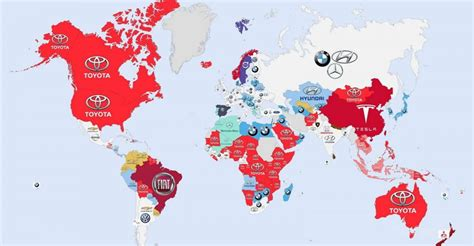 Infographic This Map Shows The Most Valuable Brand For Each Country by Interesting Infographic Shows Most Googled Car Brands In The World