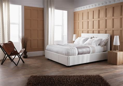 Serene Lucca 5ft Kingsize White Faux Leather Ottoman Bed White Ottoman King Size Bed