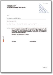 Musterbriefe Vollmacht Vollmacht F 252 R Den Krankheitsfall Formular Zum