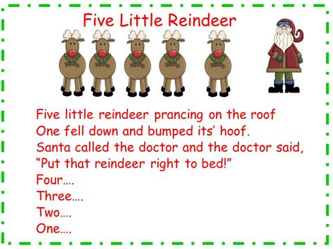 googlechristmas songs for the kindergarten five reindeer song and song chart classroom freebies