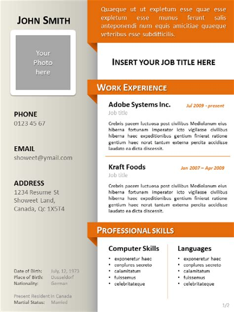 model curriculum vitae clean resume cv template for powerpoint