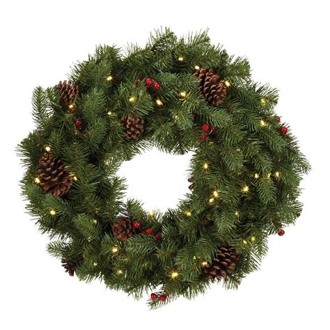 home accents holiday pre lit douglas wreath 24 inch