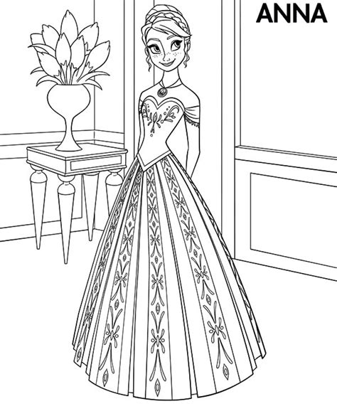 Princess Anna Wear Beautiful Dress Coloring Pages Princess Dress Coloring Pages Free Coloring Sheets