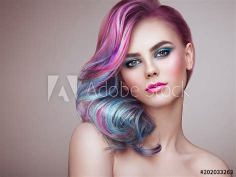 beauty fashion model girl  colorful dyed hair girl
