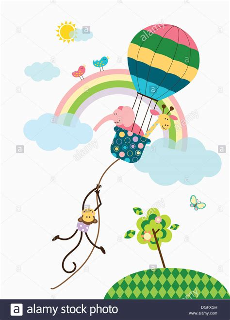 illustrator tutorial hot air balloon illustration of a monkey holding on to a hot air balloon