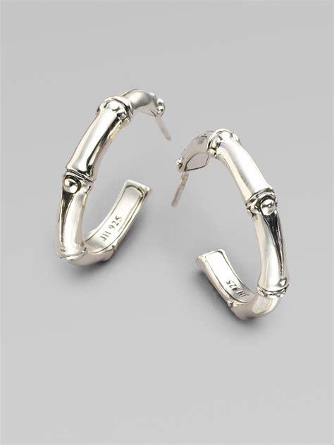 hardy bamboo sterling silver hoop earrings 1 in
