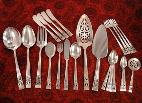 artistic flatware oneida community plate coronation art deco silverware set