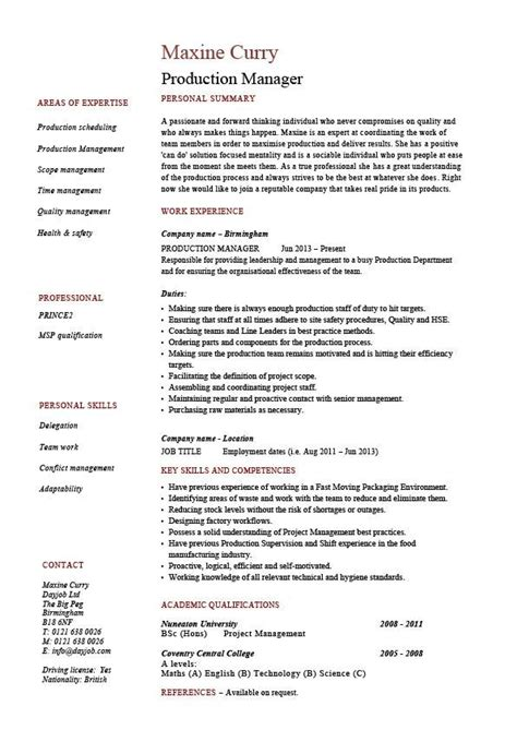 exle of manager resume manufacturing manager resume sles 28 images product