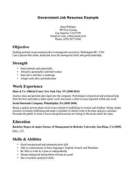 resume for government job resume examples for government jobs