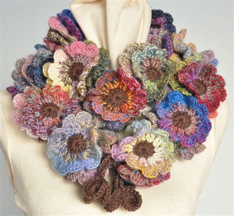 etsy pattern website floral fall crochet multicolor flower scarf