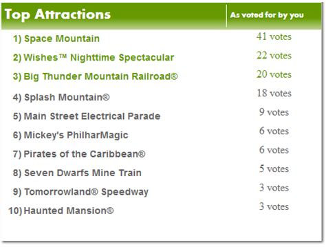 the top disney theme park rides as selected by orlando