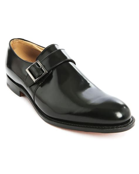 church s tokyo polished black leather buckled shoes in