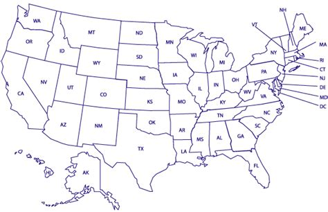 us map outline with state abbreviations geography printable united states maps
