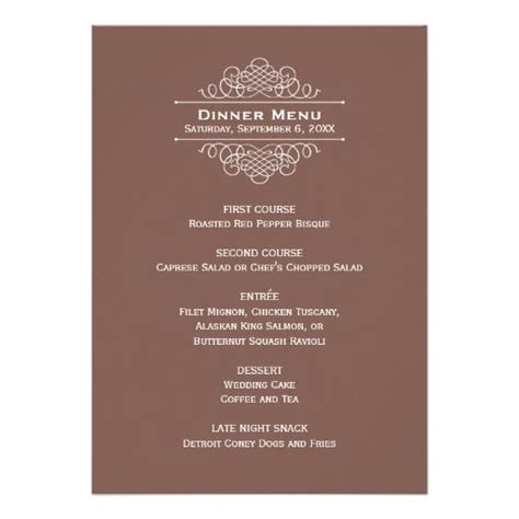 Wedding Dinner Menu Card Brown Classic Elegance Custom Invites Wedding Dinner Menu Personalized Menu Template