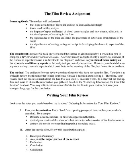 sle movie review 7 documents in word pdf