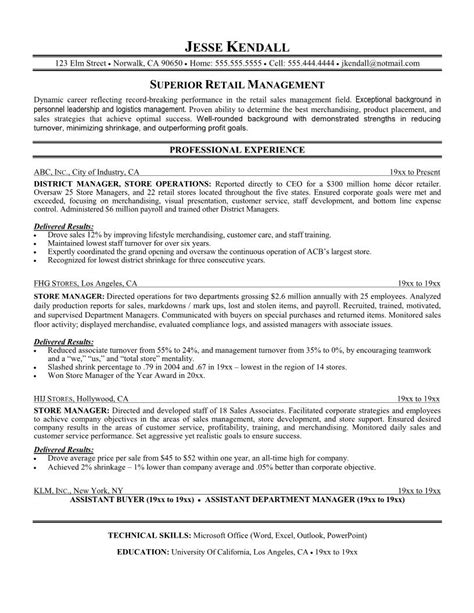 Resume For Retail Position Resume Sles For Retail Free Resumes Tips