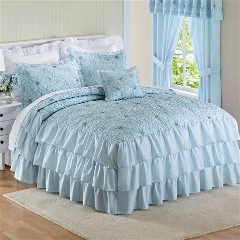 Blue Romantic Ruffled Ruffle Embroidered Floral Bedspread