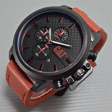 Jam Tangan Pria Cat Chrono Aktif caterpillar cat leather wood brown jam tangan murah