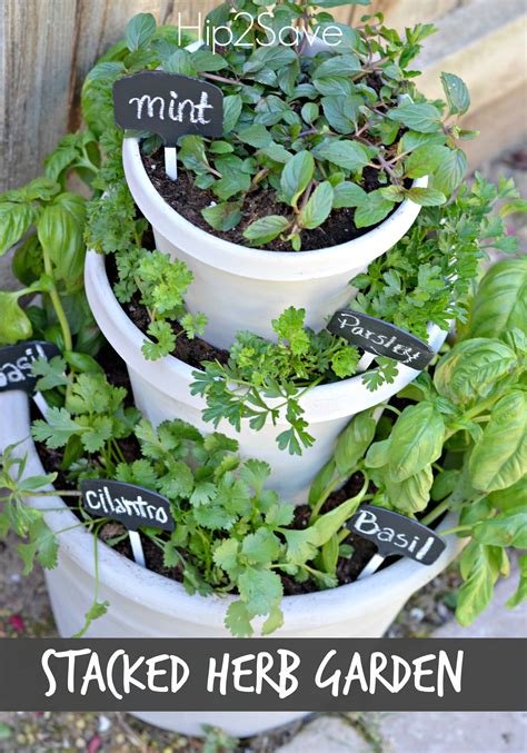backyard herbs diy stacked herb garden hip2save