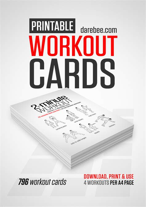 printable exercise program cards travel workout cards