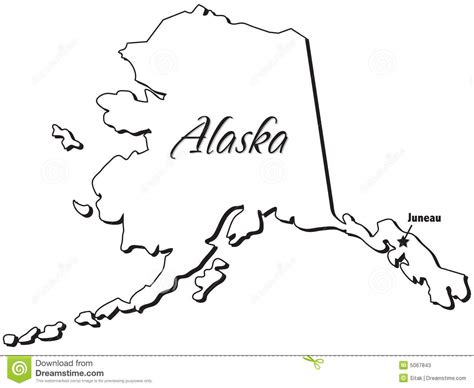 State Of Alaska Outline Stock Vector Image Of Isolation Alaska Flag Coloring Page