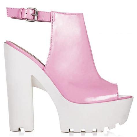 buy jorca block heel cleated sole platform shoes pink
