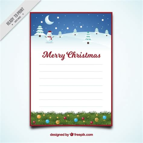Merry Christmas Letter Template With Snowy Landscape Vector Free Download Merry Letter Template