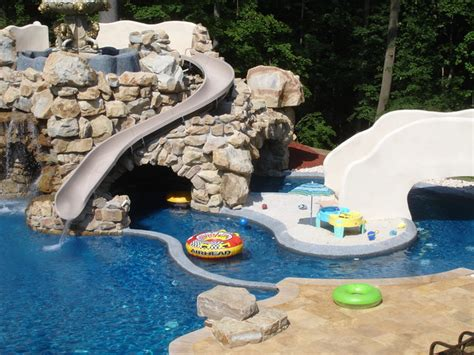 Landscape Lighting Around Pool - private residence with custom pool slide lazy river amp grotto