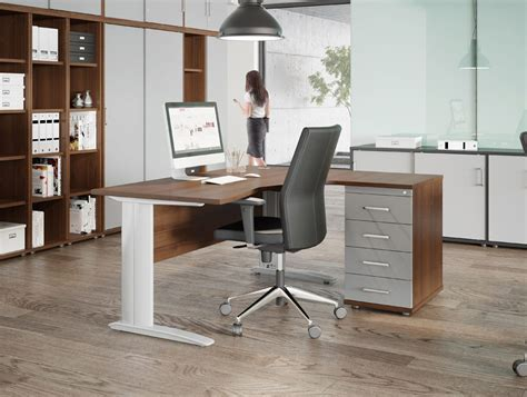 top office furniture and office komo cable managed radial desk with support leg in white