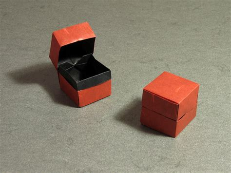 Folded Paper Box With Lid - origami central box and lid by david brill