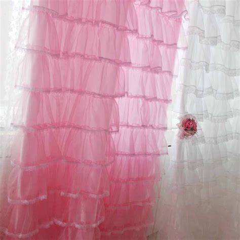 Ruffled Pink Curtains Lace Ruffled Curtain