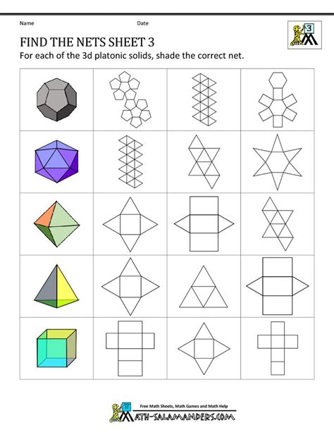 Origami Math Lessons - geometry nets worksheets find the nets 3 math middle
